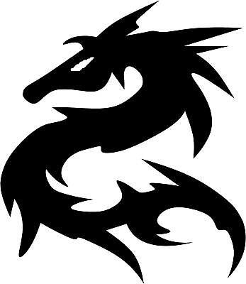 "Tribal Dragon Decal   3.75""x3.25"" choose color!"