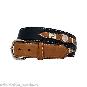 Black-Brown-Leather-MEN-039-S-WESTERN-BELT-Silver-Conchos-NOCONA-Cowboy-Buckle
