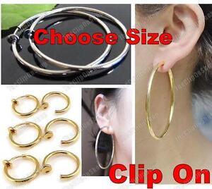 CLIP-ON-fake-hoops-GOLD-SILVER-big-small-medium-HOOP-EARRINGS-look-like-pierced