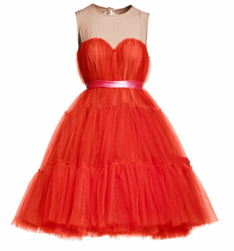 LANVIN H&M CHIC RED TULLE SILK COCKTAIL PARTY BALLGOWN DRESS 12 8 38 RARE NEW