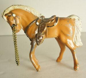 Vintage-50-039-s-Mini-Palomino-Chestnut-White-Western-Saddle-Horse-Cast-Metal-Reins