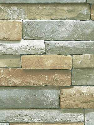 3D Rectangular Stacked Stone with Grey Wallpaper SR026208 / BC1581935