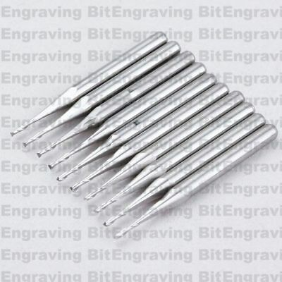 10x 1/8'' Carbide Double Two Flute Spiral Bit Router Endmill CED 1.0mm CEL 3mm