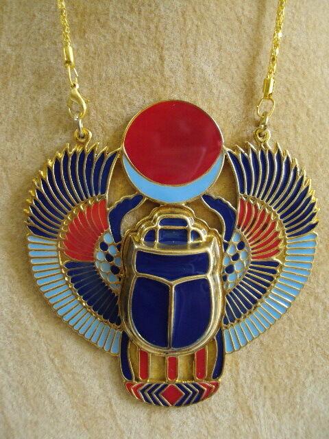 Scarab Brass Necklace Pendant Jewelry XL Enameled Egyptian Handmade Pharaoh 102