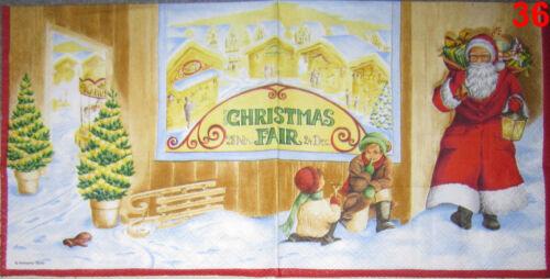 Weihnachten Weihnachtsmann Engel Baum Tannenbaum Kerze 4 SERVIETTEN