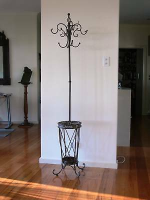 FRENCH STYLE black COAT/HAT/UMBRELLA STAND WROUGHT IRON  NEW
