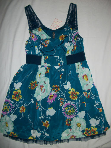 NWT  Free People Lace Strap Teal Floral Dress 12 (runs small 8 10)