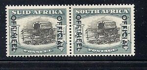 SOUTH AFRICA 1940 Sc O39 pair 18-19mm VF MLH