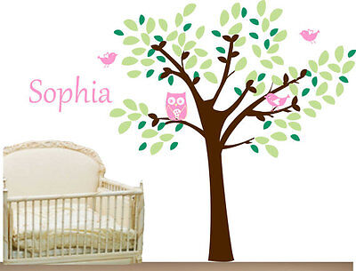 Cute Owl Birds Tree And Your Baby Name Vinyl Wall Paper Decal Art Sticker T188