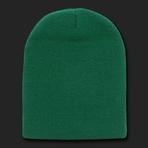 Forest-Green-Beanie-Hat-Skull-Snowboard-Winter-Warm-Knit-Hats-Cuffless-Beanies