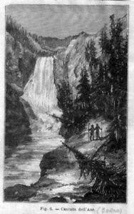 Stampa-antica-Cascata-dell-039-Aar-Berna-Svizzera-1889-Old-Print-Switzerland