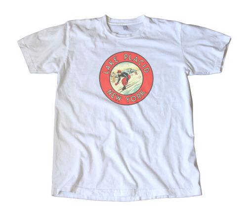 Lake Placid, NY Vintage Travel Decal T-Shirt - Skiing