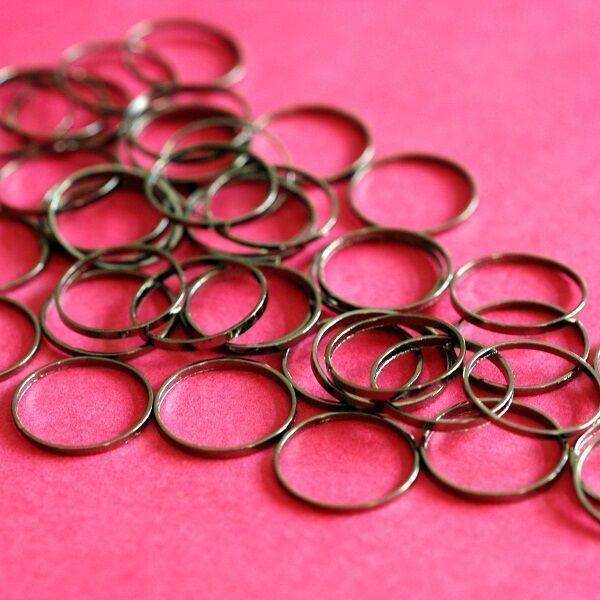 25pcs 12mm Gunmetal Smooth Brass Rings EC18712mm-B