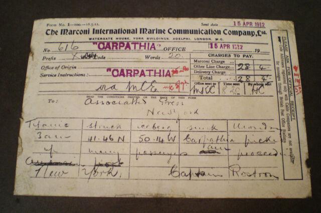 White Star Line RMS Titanic, Carpathia Telegram 1912