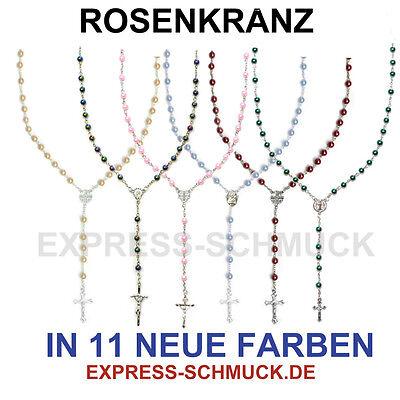 Rosenkranz Kette Kreuz Jesus Rosa Neu Rosary Halskette Anhänger Madonna Luxus