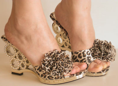 New Dressy High Heels Slides Sandals Leopard Rhinestone
