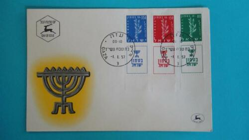 SCARCE VINTAGE 1957 FIRST DAY COVER ISRAEL MAIL STAMPS FT GAZA POST ENVELOPE