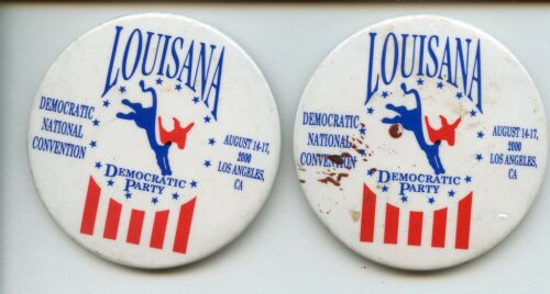 (2) Louisana DNC 2000 Democratic Party Pinback Button