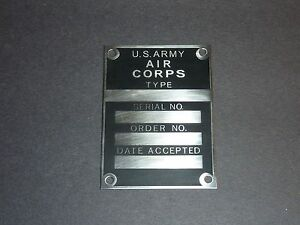Data Plate, U.S. Army Air Corps Data Plate, All Aircraft WWII