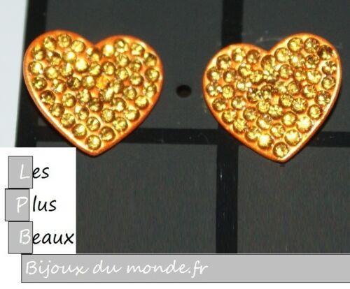 Boucles FEMME Strass COEUR en metal COULEUR au CHOIX NEUF
