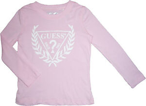 NEW-Guess-Graphic-Logo-Girls-Pink-Top-Tee-Shirt-Size-4-12
