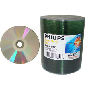 200-pk-Philips-52x-CD-R-Silver-Shiny-Thermal-Printable-Blank-Recordable-CD-Media