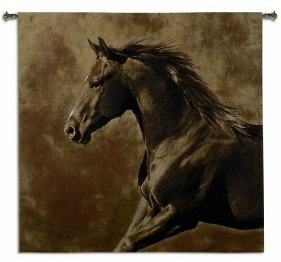 GALLOPING HORSE WESTERN BOUND DECOR ART TAPESTRY WALL HANGING 52x51