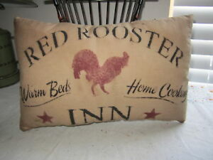 Primitive-Stenciled-Pillow-Red-Rooster-Inn-Thymeless-Treasures