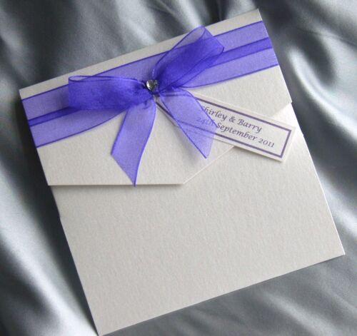 Dawn pocket wedding invitation Purple trimmed handmade .