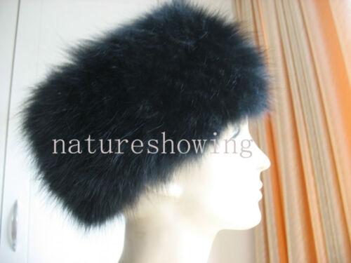free  shipping /Wonderful warmest fox fur knitted  headband/neckerchief ( black)