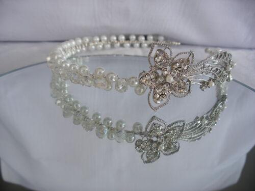 crystal pearl bridal wedding tiara headband handmade with Swarovski elements