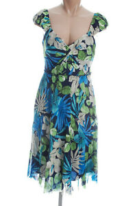 New-SANGRIA-Blue-Floral-Print-Cocktail-Party-Casual-Padded-Bust-Dress-12P-NWT