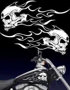 Motorcycle Flaming Fanged Skull Gas Tank Badge Vinyl Decals Fits - Skull decals for motorcycles