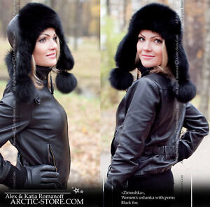 ARKTIKA-Ushanka-Women-039-s-Fur-Hat-Black-Fox-Chapka-Shapka-Flaps-Poms
