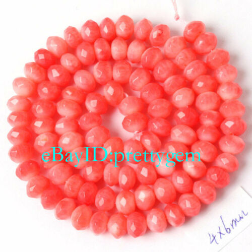 """4MM X 6MM FACETED RONDELLE PINK CORAL NATURAL GEMSTONE BEADS STRAND 15"""""""