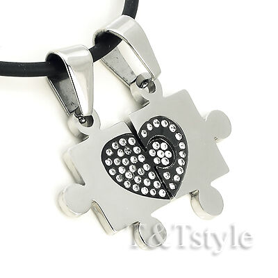 T&T S.Steel PUZZLE Pendant With CZ for couple two chain