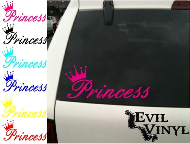 Princess & Crown Decal Cute Car Truck Window Girly Love Laptop Sticker ANY COLOR