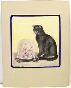 Orig-Pencil-Sketch-Alice-Pauline-Schafer-Cat-Eying-Bird