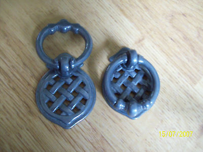1 X SMALL PEWTER LATTICE CUPBOARD CABINET DRAWER RING PULL HANDLE