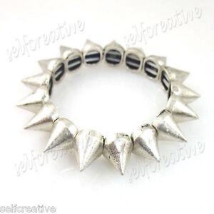 Punk-Biker-Silver-Alloy-Metal-Cone-Studs-Spike-Elastic-Bracelet-Fashion-Jewelry