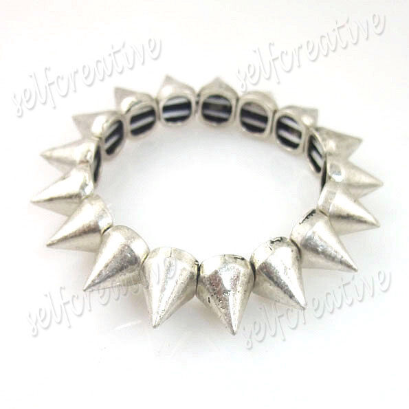 Punk Biker Silver Alloy Metal Cone Studs Spike Elastic Bracelet Fashion Jewelry