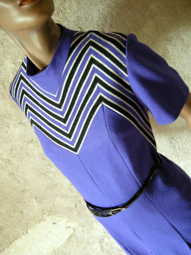 CHIC VINTAGE ROBE JERSEY CHEVRON DRESS TWIGGY VTG 60s SIXTIES KLEID ABITO 40