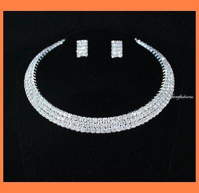 3-ROW CLEAR AUSTRIAN RHINESTONE CHOKER NECKLACE EARRINGS SET PARTY WEDDING N0561