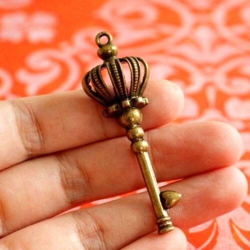 Sale Nickel Free 4pcs Antique Bronze Big Crown with Key Pendants