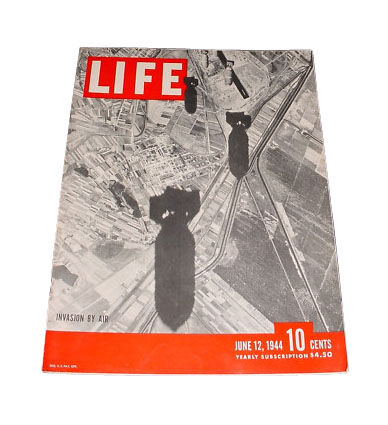 Life - June 12, 1944 Back Issue. Invasion by air on the cover. WWII coverage.