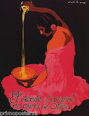 SPAIN SPANISH OLIVE OIL GIRL ACEITE ESPANOL FOOD EUROPE VINTAGE POSTER REPRO