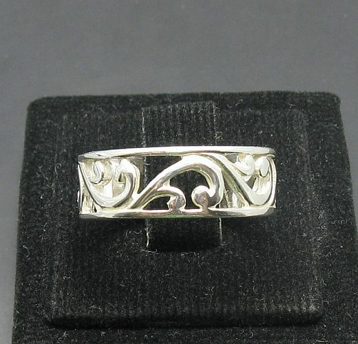 STYLISH STERLING SILVER RING SOLID 925 NEW BAND LEAF FLOWER NEW SIZE 4 - 10