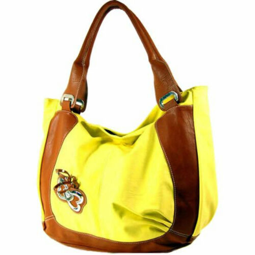 NWT  Leather Butterfly Tote Handbag Yellow, Shrimp, Purple