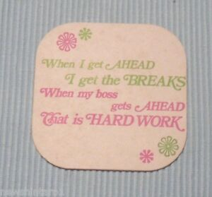 Funny Slogan Beer Drink Coaster Hard Work Ebay