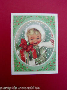 Unused Charlot Byj Byi Xmas Greeting Card, Pretty Girl in Snow With Gift Box